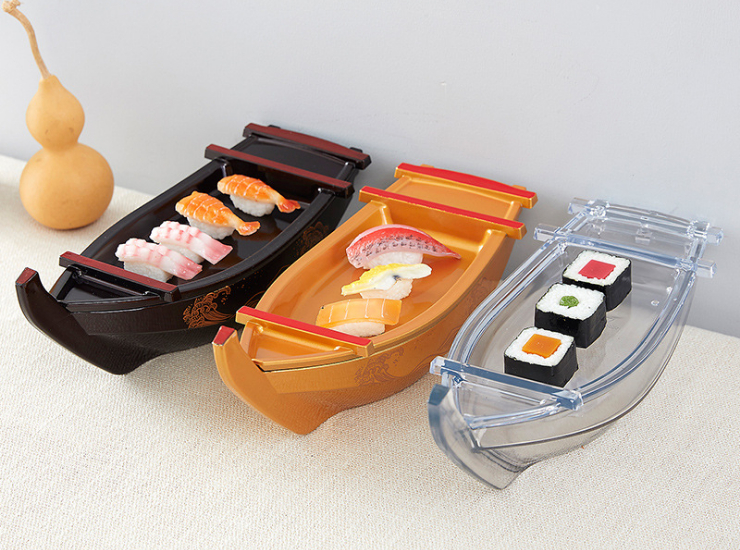 Hotel Restaurant Exquisite Creative Decoration Tableware Dinner Plate Dragon Boat Sashimi Container Sushi Plate Sushi Container