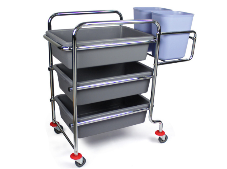 Hotel Restaurant Thicker Three-Tier Electroplated Trolley Multi-Function Picking Car (The Next Column) Under The Basket Dan Dish Collection Large