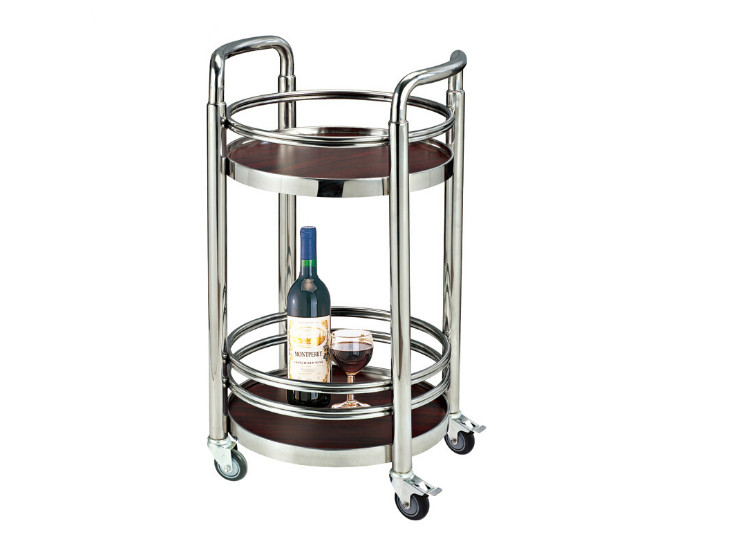 Hotel Restaurant Titanium Round Wine Cart Stainless Steel Wine Cart Champagne Restaurant Catering Mobile Service Cart