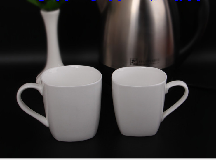 Hotel Room Pure White Cup Ceramic No Cover Creative Office Meeting Room Cup Cup Porcelain Cup Simple Cup