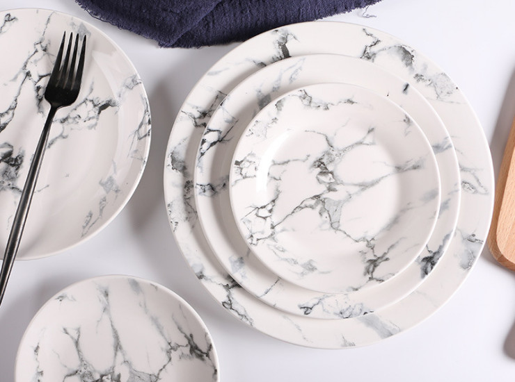 Hotel Tableware Ceramic Plate Home Marble Pattern Flat Plate Fish Plate Gift Bowl Dish Set