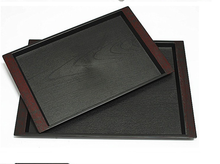 Hotel/Hotel Special Tray High-Grade Black Plastic Rectangular Tray Double Sword Thickening Non-Slip Tray