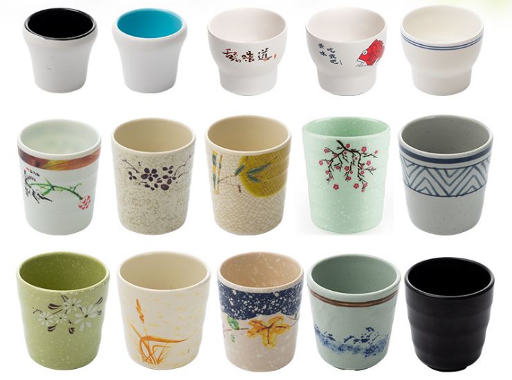 Imitation Porcelain Creative Cup Plastic Cup Restaurant Restaurant Cup Buffet Melamine Tableware (Multiple Styles & Sizes)