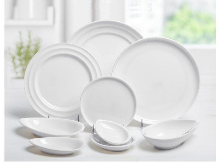 Imitation Porcelain Melamine Hotel Hot Pot Thick Disc White Snack Tray Shallow Dish Snack Plate (Multiple Sizes)