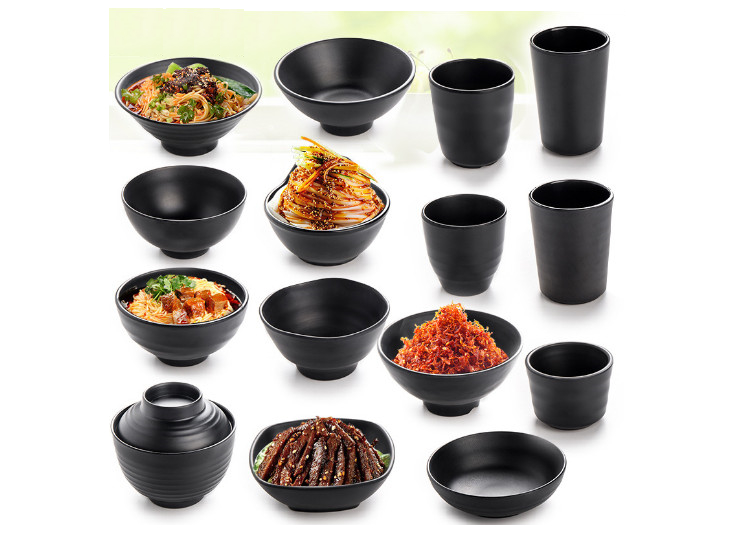 Imitation Porcelain Tableware Black Matte Restaurant Japanese-Style Korean Rice Soup Bowl Of Water Cup Dish Melamine Bowl