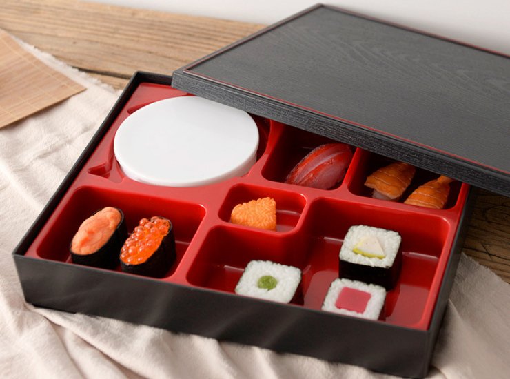 Japanese-Style 6-Square Grid Solid Color Environmentally Friendly Portable Lunch Box Can Put Soup Bowls