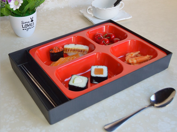 Japanese-Style Business Lunch Box With Lid With Chopsticks And Spoon Microwave Oven Compartment Rectangular Meal Delivery Melamine Lunch Box
