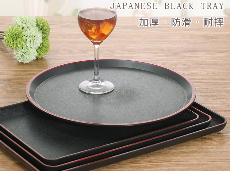 Japanese Tray Round Sushi Plate Melamine Imitation Porcelain Black Red Rectangular Plastic Room Tea Tray Hotel Tray