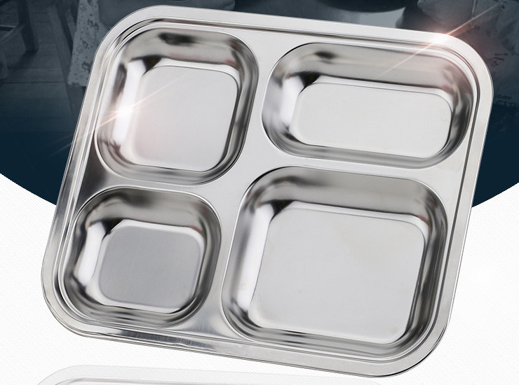 Kindergarten Stainless Steel Plate Small Four Grid Table Canteen Tableware Stainless Steel Rice Bowl Kindergarten Plate Set