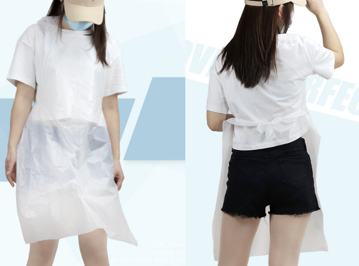 (Ready PE Disposable Apron In Stock) (Box/1000 Pcs) Kitchen Waterproof Transparent Sleeveless Plastic Apron Restaurant Hot Pot Shop Commercial PE Disposable Apron