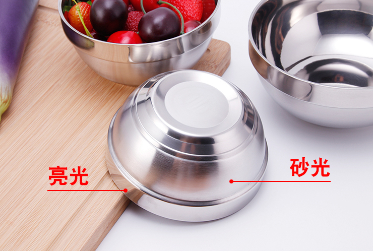 Korean Stainless Steel Bowl Double-Layer Anti-Scald Insulation Bowl Children's Stainless Steel Small Bowl Instant Noodle Bowl Canteen Rice Bowl Tableware