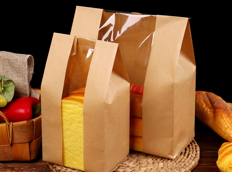 (Box/1000 Pcs) Kraft Paper Bag Square Bottom Food Window Paper Bag Baking Noodle Packaging Bag Kfc Bag (Door Delivery Included)