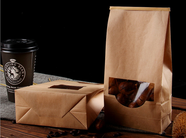 (Box/500 Pcs) Kraft Paper Bag Window Ziplock Bag Ziplock Bag Sealed Wire Back Seal Popcorn Bag (Door Delivery Included)