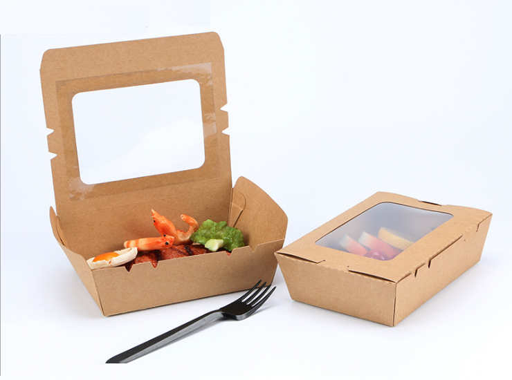 (Instant-pick Kraftpaper Window Salad Box Ready Stock) (Box/200 Pcs) Kraft Paper Lunch Box Open Single Window Fruit Salad Box Takeaway Packing Box Bento Sushi Lunch Box