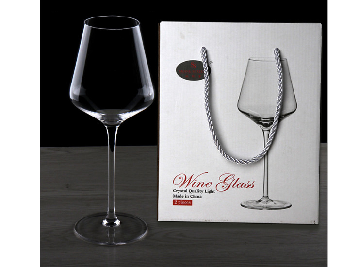 Lead-Free Crystal Glass Red Wine Cup 2 Gift Box Goblet Wine Glass Gift Box Wholesale (One Set 2 Pcs)
