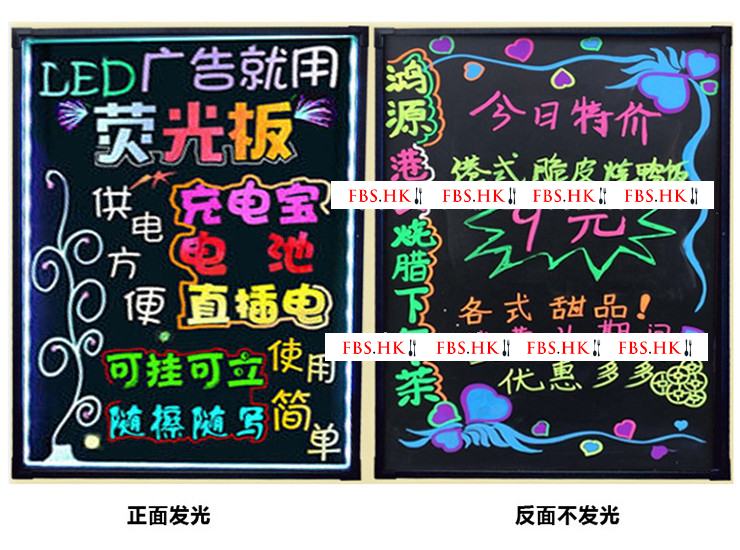 Led Hanging Luminescent Plate Fluorescent Plate Restaurant Promotion Recruitment Menu Board Electronic Advertising Board Small Chalkboard Multi Size