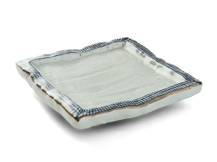 Line Thick Side Square Plate Four-Corner Plate Dish Plate Sushi Plate Japanese And Korean Creative Ceramic Tableware