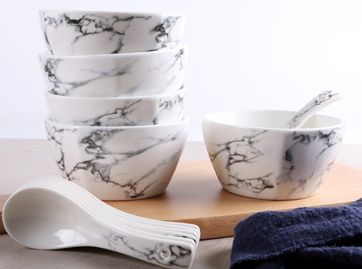 Marble Pattern Ceramic Bowl Spoon Creative Home Salad Bowl Rice Bowl