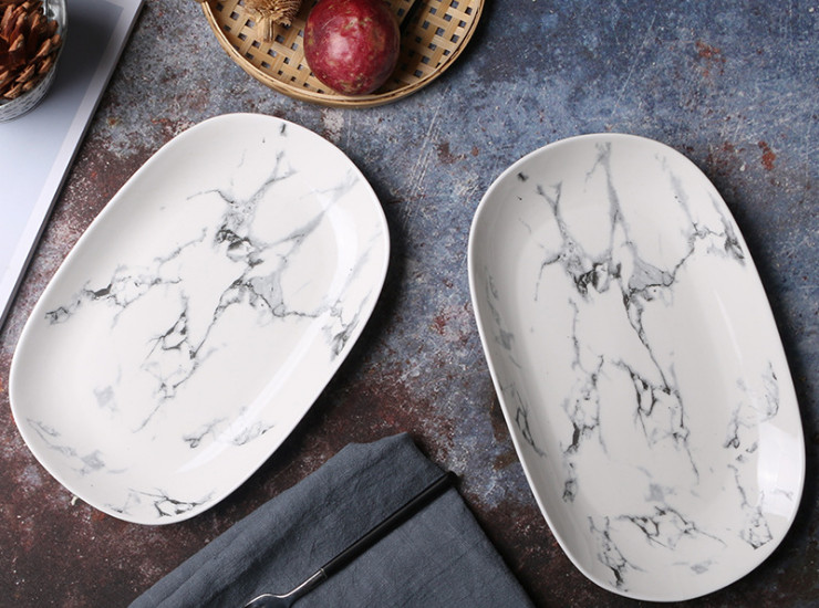 Marble Pattern Egg-Shaped Fish Plate Creative Ceramic Dish Household Dishware Set Ceramic Tableware
