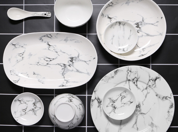 Marbled Ceramic Tableware Household Plate Soup Bowl Spoon Hotel Dish Plate Set