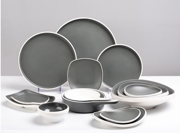 Melamine Gray Nordic Style Cutlery Set Plastic Plate Imitation Porcelain Dish Plate Dish Plate Dish-Resistant Restaurant Restaurant (Multiple Styles & Sizes)