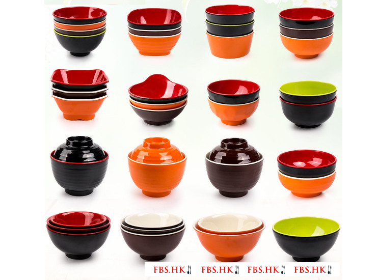 Melamine Melamine Tableware Two-Color Orange And White Rice Rice Bowl Specialty Rice Bowl Falls