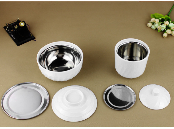 Melamine Tableware Imitation Melamine Imitation Porcelain Tableware Real Kung Fu Rice Bowl Stainless Steel Liner Stew Pot Cup