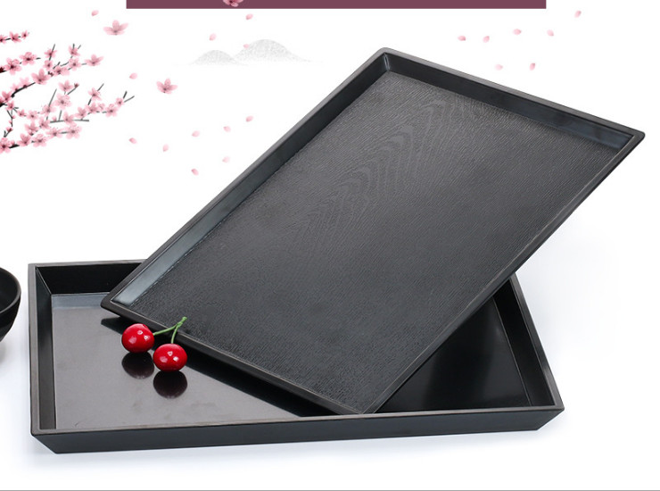 Melamine Tray Japanese Black Matte Rectangular Plastic Tray Melamine Tableware Restaurant Tea Tray Side Dish Plate