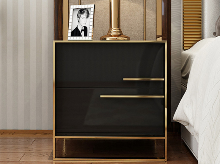 Modern Bedside Table Simple Bedroom Bedside Cabinet Paint Light Luxury Nordic Style Stainless Steel Storage Side Cabinet (Shipping & Installation Fee To Be Quoted Separately)