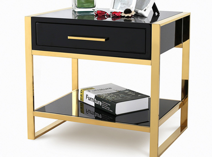 Modern Light Luxury Shop Room Bedside Table Simple Black Paint Master Bedroom Bedside Cabinet Drawer Storage Cabinet Low Cabinet (Shipping & Installation Fee To Be Quoted Separately)