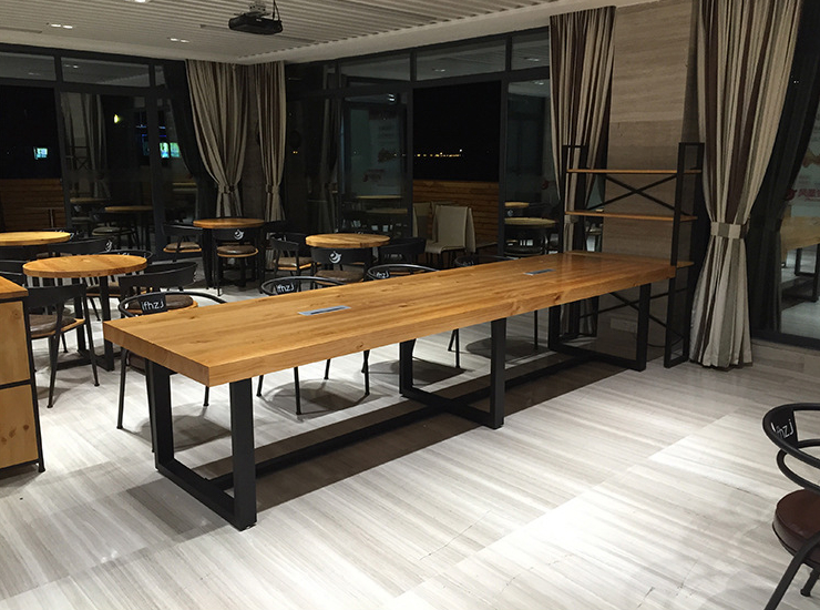 Modern Minimalist Restaurant Bar Table Solid Wood Desk Studio Conference Table Long Table Negotiating Long Table And Chair Combination (Shipping And Installation Costs Are Reported Separately)