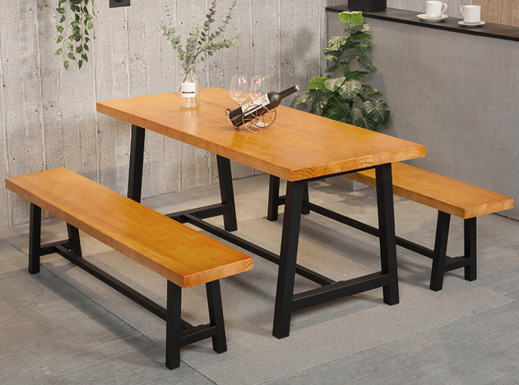 Modern Restaurant Solid Wood Table And Chair Simple Fast Food Restaurant For 4 People Dining Table And Chairs Stool Dining Table Combination (Shipping And Installation Costs Are Reported Separately)