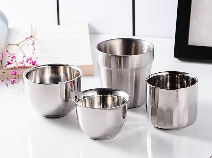 Non-Magnetic Thick Double-Layer Stainless Steel Mouth Cup Children's Cup Hand Cup Student Cup Insulation Cup Restaurant Kindergarten Cup (Various Models)