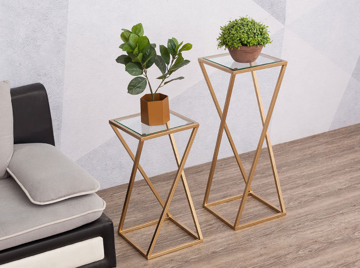 Nordic Balcony Wrought Iron Flower Stand Office Golden Single Layer Creative Flower Stand Simple Shelf (Delivery Fee To Be Quoted Separately)