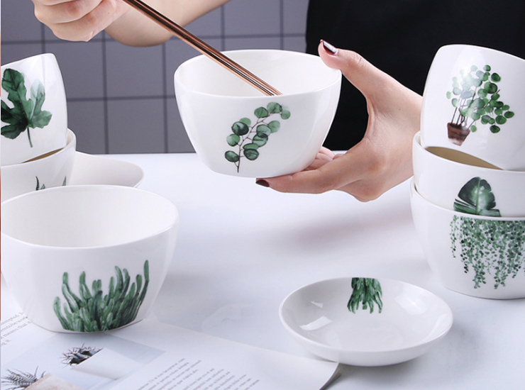 Nordic Bowl Green Plant Square Bowl Household Rice Bowl Ceramic Tableware Creative Salad Eating Bowl Plate Set