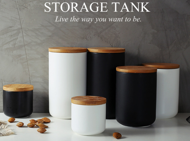 Nordic Creative Kitchen Ceramic Sealed Cans Miscellaneous Grains Coffee Tea Storage Seasoning Storage Tank With Lid
