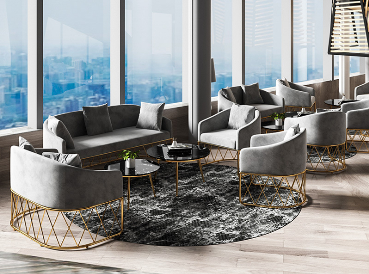 Nordic Fabric Sofa Combination Light Luxury Home Living Room Leisure Sofa Office Furniture Reception Guest Sofa Combination (Delivery & Installation Fee To Be Quoted Separately)