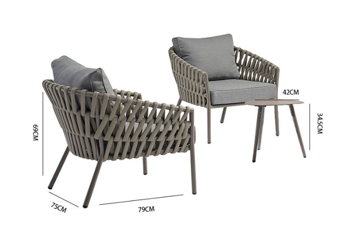 Nordic Leisure Outdoor Rattan Leisure Rattan Table Combination Aluminum Tube Rope Table And Chair Balcony Courtyard Outdoor Rattan Chair Sofa (Delivery & Installation Fee To Be Quoted Separately)