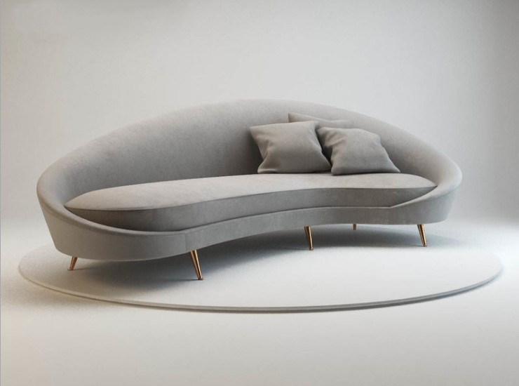 Nordic Light Grey Creative Curved Fabric Sofa Modern Minimalist Hotel Lobby Designer Shaped Double Triple Four Person Sofa (Shipping & Installation Fee To Be Quoted Separately)