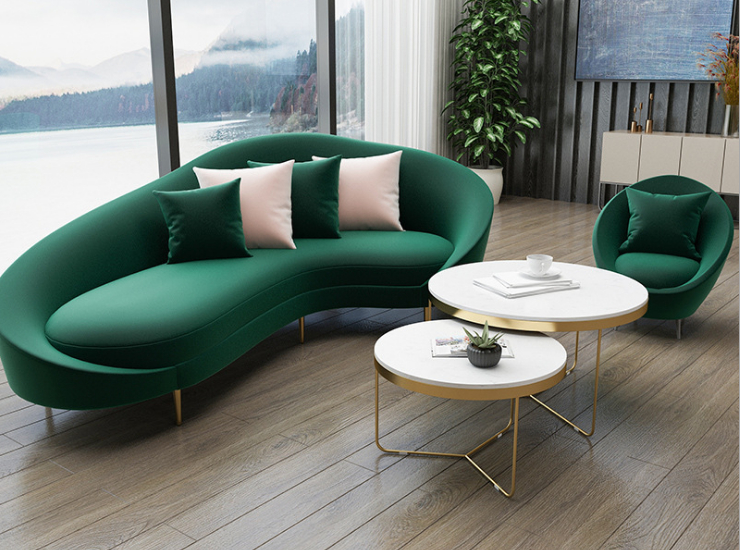 Nordic Light Luxury Curved Sofa And Coffee Table Combination Hotel Reception And Meeting Office Club Fabric Sofa (Delivery & Installation Fee To Be Quoted Separately)