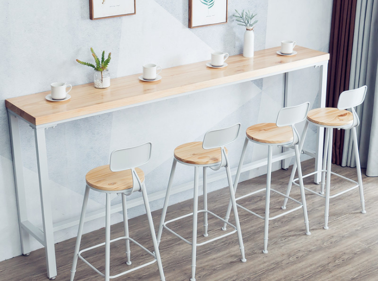 Nordic Simple Solid Wood Bar Table, Milk Tea Shop, Long Table Against The Wall, Home Kitchen Balcony, Leisure High Bar Table (Delivery & Installation Fee To Be Quoted Separately)