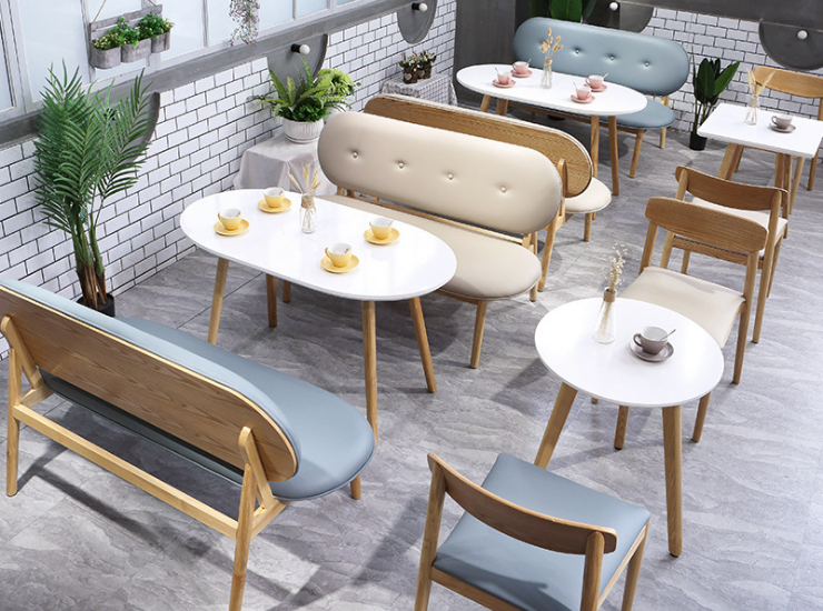 Nordic Tea Shop Table And Chair Combination Western Restaurant Net Red Coffee Shop Dessert Shop To Discuss Card Seat Sofa Solid Wood Chair (Shipping & Installation Fees are Quoted Separately)