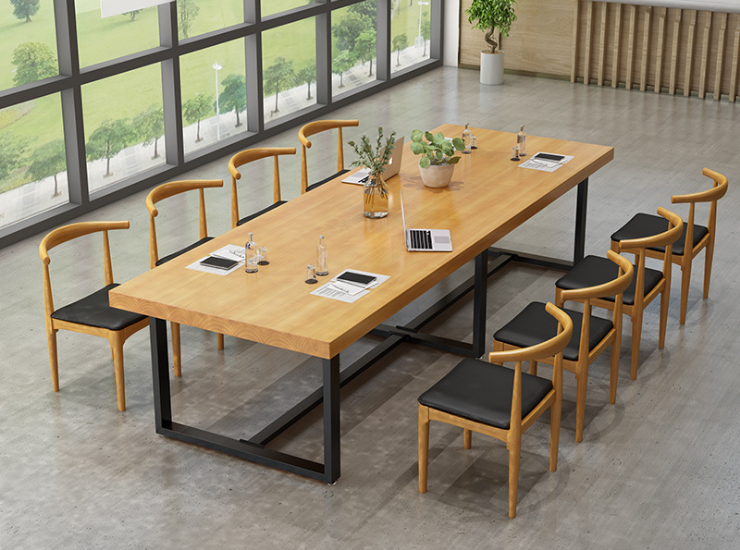 Office Furniture Solid Wood Conference Table Desk Rectangular Large Conference Table Simple Modern Negotiation Table Chair Combination (Delivery & Installation Fee To Be Quoted Separately)