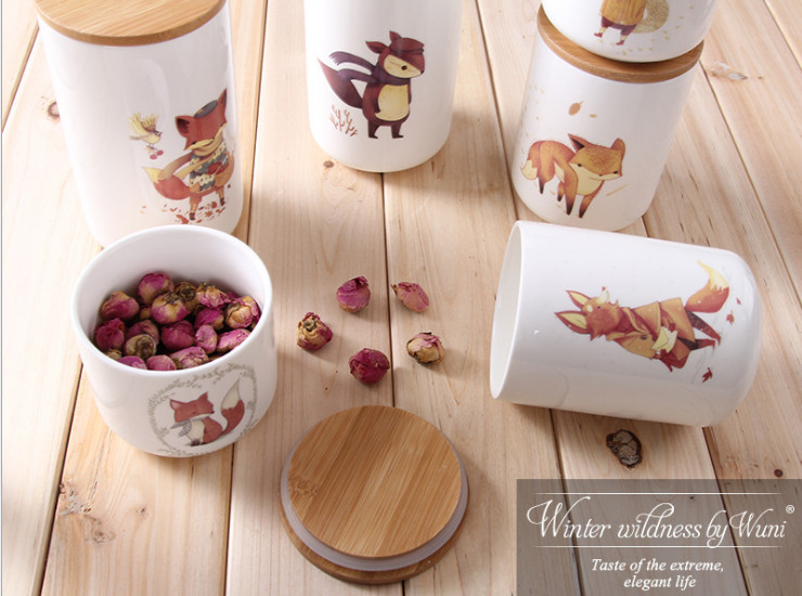 Other Kitchen Ceramic Supplies Seal Cans Cute Animals Kitchen Ceramic Storage Seals Tea Tanks Creative Simple Coffee Dry Fruit Tanks Flower Tea Tank Wholesale