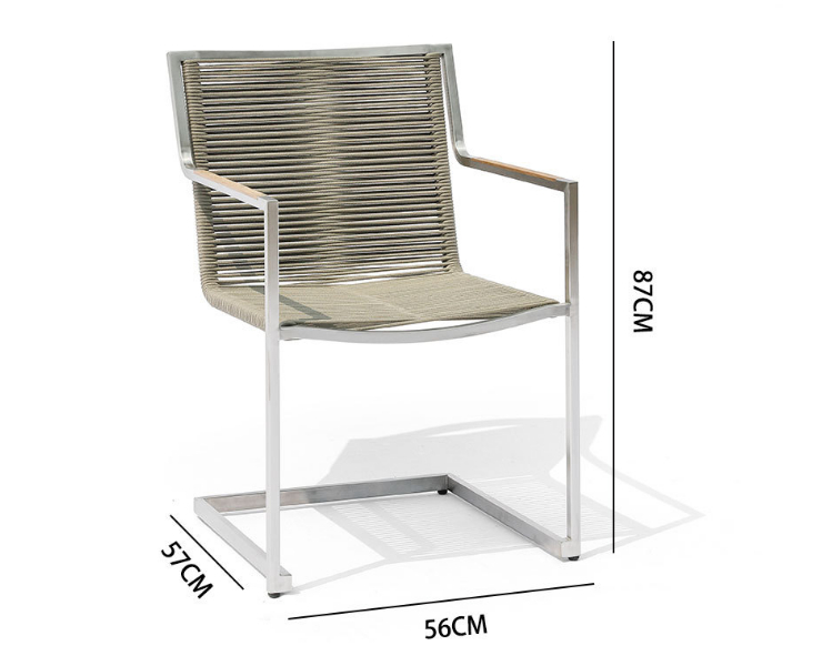 Outdoor Dining Table And Chair Outdoor Leisure Simple Balcony Courtyard Sun Protection Pull Rope Stainless Steel Chair (Delivery & Installation Fee To Be Quoted Separately)