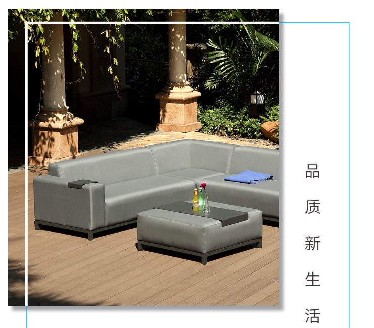 Outdoor Hotel Courtyard Garden Teslin Cloth Waterproof Combination Outdoor Sofa Modern Light Luxury Sofa (Delivery & Installation Fee To Be Quoted Separately)