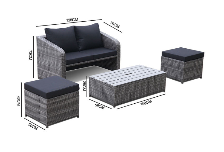 Outdoor Rattan Sofa And Coffee Table Combination Pe Rattan Woven Outdoor Sunscreen Patio Balcony Leisure Sofa (Delivery & Installation Fee To Be Quoted Separately)