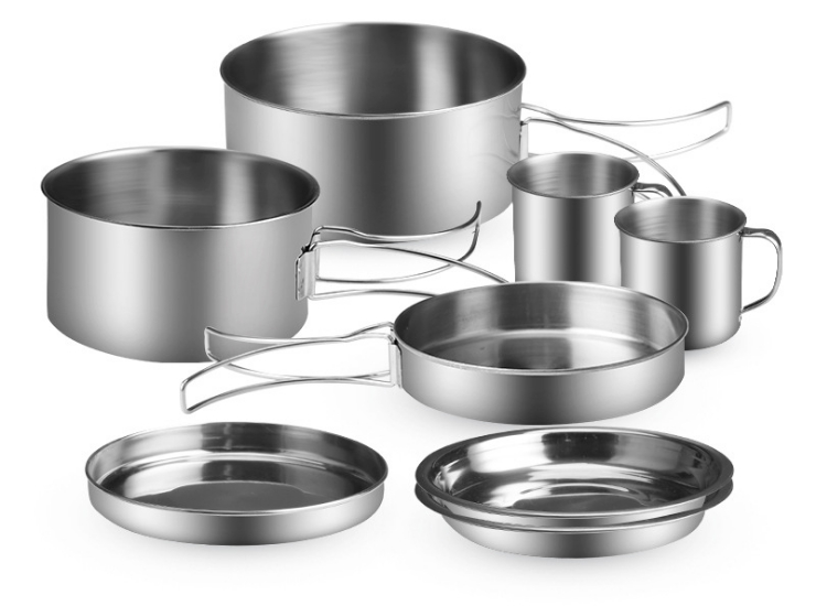 Outdoor Tableware Outdoor Stove Stainless Steel Pot Foldable 8-Piece Stainless Steel Camping Pot Picnic Pot