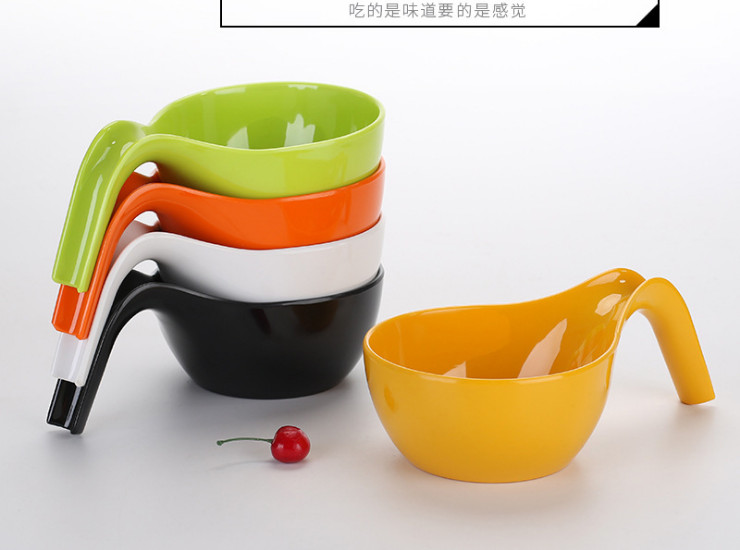 Personalized Instant Noodle Bowl With Hand Bowl Color Imitation Porcelain Ramen Bowl Soup Powder Bowl Melamine Tableware