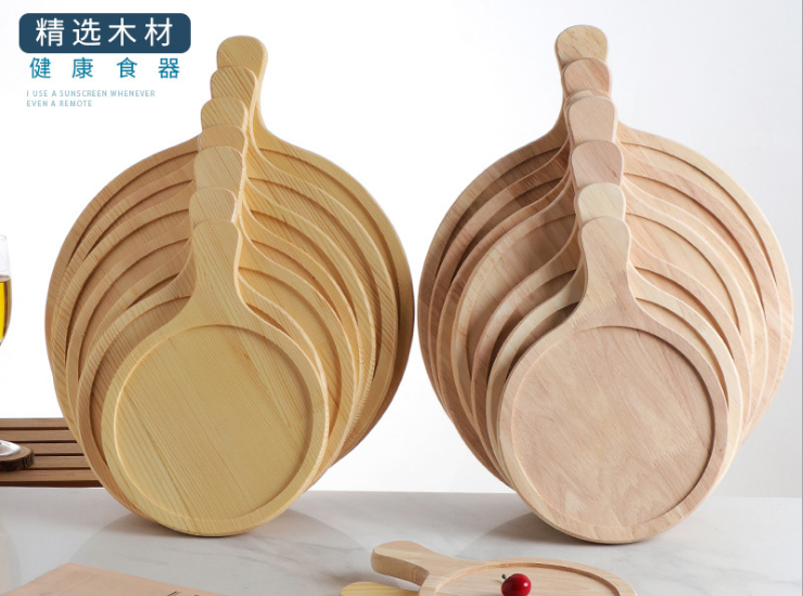 Pine Pizza Plate Round Wood Products Bread Tray Plate Wood Dessert Plate Oak Cake Pan Pizza Plate (Multiple Sizes)